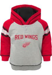 Detroit Red Wings Toddler Grey Classic Stripe Long Sleeve Hooded Sweatshirt