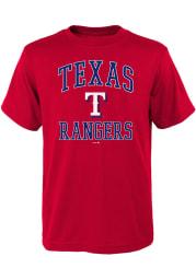 Texas Rangers Youth Red #1 Design Short Sleeve T-Shirt