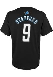 Matthew Stafford Detroit Lions Youth Black Mainliner Player Tee