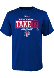 Chicago Cubs Youth Blue Take October Short Sleeve T-Shirt