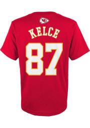 Travis Kelce Kansas City Chiefs Boys Red Player Short Sleeve T-Shirt