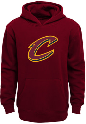 Cleveland Cavaliers Youth Red Primary Logo Long Sleeve Hoodie