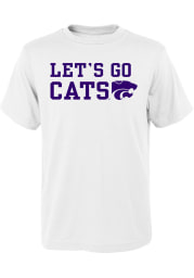 K-State Wildcats Youth White Lets Go Cats Short Sleeve T-Shirt