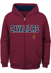 Cleveland Cavaliers Youth Red Foundation Long Sleeve Full Zip Jacket