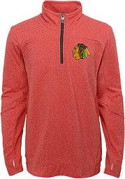 Chicago Blackhawks Youth Red Polymer Long Sleeve Quarter Zip Shirt
