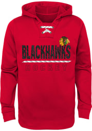 Chicago Blackhawks Youth Red Lace Em Up Long Sleeve Hoodie
