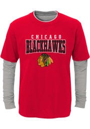 Chicago Blackhawks Youth Red Playmaker Long Sleeve Fashion T-Shirt