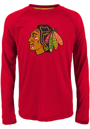 Chicago Blackhawks Youth Red Grinder Long Sleeve T-Shirt