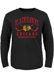 Chicago Blackhawks Youth Black Fundamentals Long Sleeve T-Shirt