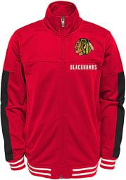 Chicago Blackhawks Youth Red Goal Line Long Sleeve Track Jacket