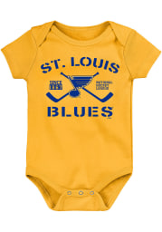 St Louis Blues Baby Gold Crossed Sticks Short Sleeve One Piece