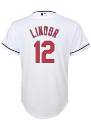 Francisco Lindor Cleveland Indians Boys White Home Baseball Jersey