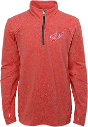 Detroit Red Wings Boys Red Polymer Long Sleeve 1/4 Zip Pullover