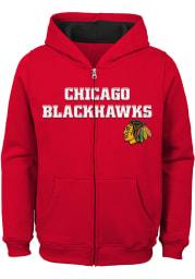 Chicago Blackhawks Boys Red Prime Long Sleeve Full Zip Hooded Sweatshirt