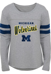 Michigan Wolverines Girls Grey Field Armor Long Sleeve T-shirt