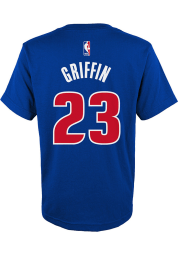 Blake Griffin Detroit Pistons Youth Blue Flat Replica Player Tee