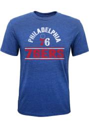 Philadelphia 76ers Youth Blue Double Bar Short Sleeve Fashion T-Shirt
