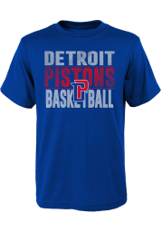 Detroit Pistons Youth Blue Trilateral Short Sleeve T-Shirt