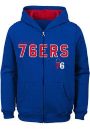 Philadelphia 76ers Boys Blue Foundation Long Sleeve Full Zip Hooded Sweatshirt