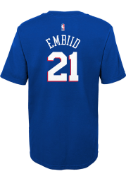 Joel Embiid Philadelphia 76ers Boys Blue Name and Number Short Sleeve T-Shirt