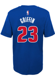 Blake Griffin Detroit Pistons Boys Blue Name and Number Short Sleeve T-Shirt