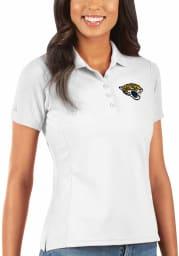 Antigua Jacksonville Jaguars Womens White Legacy Pique Short Sleeve Polo Shirt