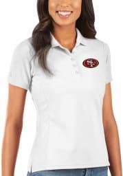 Antigua San Francisco 49ers Womens White Legacy Pique Short Sleeve Polo Shirt