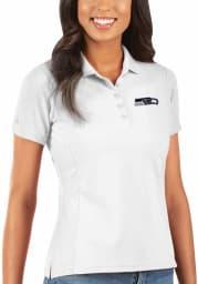 Antigua Seattle Seahawks Womens White Legacy Pique Short Sleeve Polo Shirt