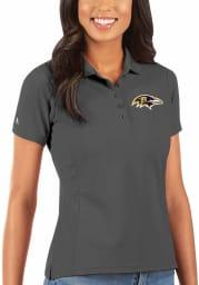 Antigua Baltimore Ravens Womens Grey Legacy Pique Short Sleeve Polo Shirt