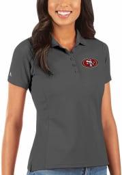 Antigua San Francisco 49ers Womens Grey Legacy Pique Short Sleeve Polo Shirt