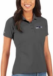 Antigua Seattle Seahawks Womens Grey Legacy Pique Short Sleeve Polo Shirt