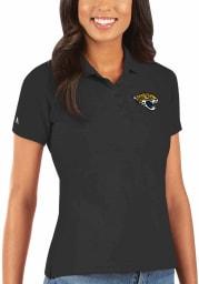 Antigua Jacksonville Jaguars Womens Black Legacy Pique Short Sleeve Polo Shirt