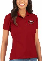 Antigua San Francisco 49ers Womens Red Legacy Pique Short Sleeve Polo Shirt