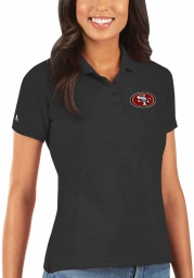 Antigua San Francisco 49ers Womens Black Legacy Pique Short Sleeve Polo Shirt
