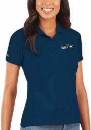 Antigua Seattle Seahawks Womens Navy Blue Legacy Pique Short Sleeve Polo Shirt