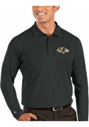 Antigua Baltimore Ravens Mens Grey Tribute Long Sleeve Polo Shirt