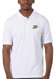Antigua Anaheim Ducks Mens White Legacy Pique Short Sleeve Polo