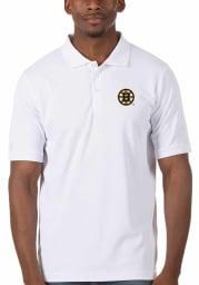 Antigua Boston Bruins Mens White Legacy Pique Short Sleeve Polo
