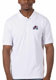 Antigua Colorado Avalanche Mens White Legacy Pique Short Sleeve Polo
