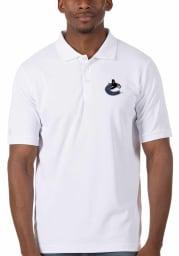 Antigua Vancouver Canucks Mens White Legacy Pique Short Sleeve Polo