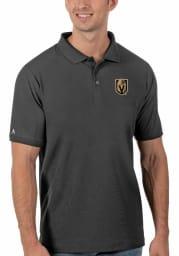 Antigua Vegas Golden Knights Mens Grey Legacy Pique Short Sleeve Polo