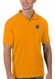 Antigua Boston Bruins Mens Gold Legacy Pique Short Sleeve Polo