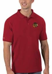 Antigua Chicago Blackhawks Mens Red Legacy Pique Short Sleeve Polo