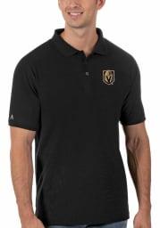 Antigua Vegas Golden Knights Mens Black Legacy Pique Short Sleeve Polo