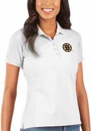 Antigua Boston Bruins Womens White Legacy Pique Short Sleeve Polo Shirt