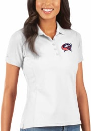 Antigua Columbus Blue Jackets Womens White Legacy Pique Short Sleeve Polo Shirt