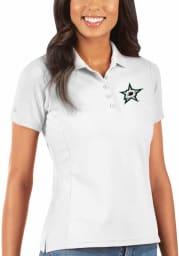 Antigua Dallas Stars Womens White Legacy Pique Short Sleeve Polo Shirt