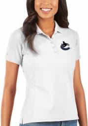Antigua Vancouver Canucks Womens White Legacy Pique Short Sleeve Polo Shirt