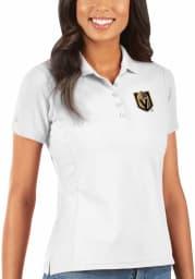 Antigua Vegas Golden Knights Womens White Legacy Pique Short Sleeve Polo Shirt