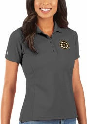 Antigua Boston Bruins Womens Grey Legacy Pique Short Sleeve Polo Shirt